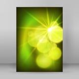 Cercle de tache floue de fond de vert de disposition de brochure de la page de couverture A4 Image libre de droits