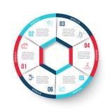 Cercle de vecteur infographic avec 6 options Images libres de droits