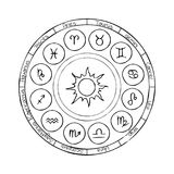 Cercle de zodiaque avec des signes d'horoscope images libres de droits