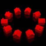 Cercle des maisons rouges Photographie stock