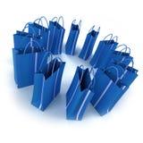 Cercle des sacs à provisions bleus illustration stock