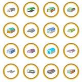 Cercle différent d'icônes de hangars Images stock