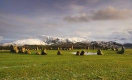 Cercle en pierre de Castlerigg, le soleil de l'hiver Images libres de droits