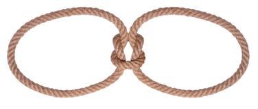 Cercle et noeud de deux cordes Photographie stock libre de droits