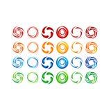 Cercle, l'eau, logo, vent, sphère, usine, feuilles, ailes, flamme, le soleil, résumé, infini, ensemble de conception ronde de vec illustration libre de droits