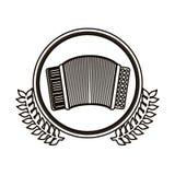 cercle noir de découpe avec la branche d'olivier décorative et accordéon avec le clavier Photo libre de droits