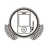 cercle noir de découpe avec la branche d'olivier décorative et le dispositif portatif de musique Photographie stock libre de droits