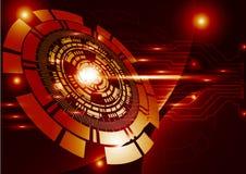 Cercle numérique de technologie de technologie d'abrégé sur orange fond Image stock