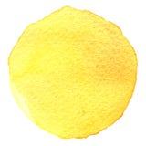 Cercle peint à la main d'aquarelle Beaux éléments de conception Fond jaune images stock