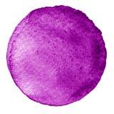 Cercle pourpre d'aquarelle Tache avec la texture de papier Image stock