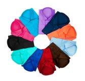 Cercle rayé par chemises colorées d'affaires dessus Photographie stock