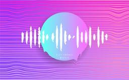Cercle rose avec la vague de musique La g?om?trie abstraite futuriste cyberpunk Musique ?lectronique Chambre profonde Style 80s - illustration de vecteur