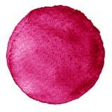 Cercle rose d'aquarelle Tache avec la texture de papier Élément de conception d'isolement sur le fond blanc Calibre abstrait tiré Photos stock