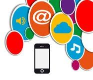Cercle social mobile de réseau Photographie stock