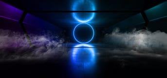 Cercle souterrain de Sci fi de lampes au néon de fumée de fond de couloir de tunnel de garage étranger graphique sombre bleu vibr illustration de vecteur