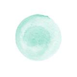 Cercle vert en bon état d'aquarelle d'isolement sur le blanc Fond rond abstrait L'aquarelle souille la texture L'espace pour le v Photo libre de droits