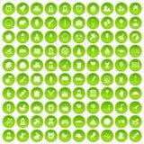 100 cercle vert réglé d'enfant par icônes centrales illustration libre de droits