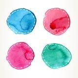 Cercles à tiret d'aquarelle Photos libres de droits