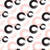 Cercles abstraits d'encre et modèle sans couture de vecteur de points Image libre de droits