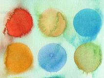 Cercles abstraits de fond d'aquarelle Images libres de droits