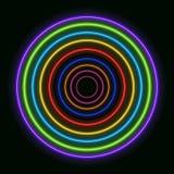 Cercles au néon colorés de vecteur, anneaux colorés par arc-en-ciel brillant illustration libre de droits