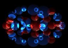 Cercles bleus et rouges lumineux chaotiques lumineux Photographie stock