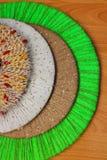 Cercles colorés de fil, fond, texture Image stock
