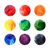 Cercles colorés de vecteur d'aquarelle Image stock