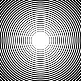 Cercles concentriques, lignes radiales modèles Résumé monochrome Photo libre de droits