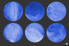 Cercles d'aquarelle dans le bleu photos stock