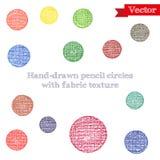 cercles de crayon de Main-dessin avec la texture de tissu Photographie stock libre de droits