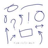 Cercles de flèches et ensemble abstrait de vecteur de conception d'écriture de griffonnage Photos libres de droits