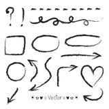 Cercles de flèches et ensemble abstrait de vecteur de conception d'écriture de griffonnage Image stock