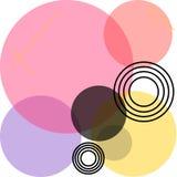 Cercles de intersection colorés translucides de différentes tailles photos stock