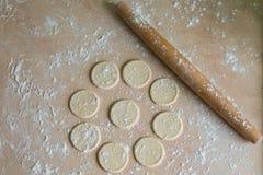 Cercles de la pâte et goupille Photographie stock