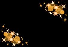 Cercles et étoiles sur le noir Photo libre de droits