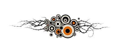 Cercles et centrales avec des piquants. illustration stock