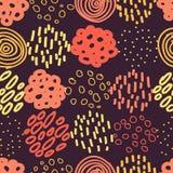 Cercles et Dots Vector Seamless Pattern tirés par la main Image stock