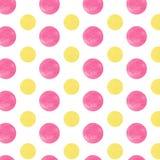 Cercles jaunes et roses d'aquarelle Image libre de droits