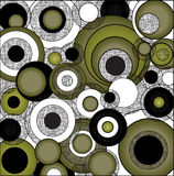 Cercles psychédéliques noirs et blancs verts Images libres de droits