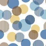 Cercles rayés simples abstraits bleus et beiges modèle sans couture géométrique, vecteur illustration stock