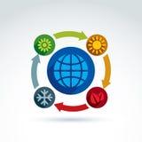 Cercles reliés avec des symboles verts de saison Images libres de droits