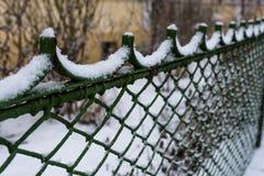 Cerco da neve do inverno Fotos de Stock