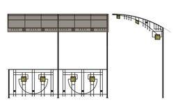 Cerco das escadas do ferro forjado ilustração royalty free