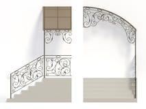 Cerco e dossel das escadas do ferro forjado ilustração do vetor