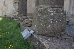 Cercos do projetor do alogenuro Projetores para iluminar o castelo Luz ao ar livre foto de stock