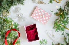 Cerda joven de la Navidad para las mujeres Ropa interior roja del cordón en el Ne decorativo imágenes de archivo libres de regalías
