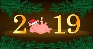 Cerdo Año Nuevo chino El año del cerdo Corte el animal Cerdo del Año Nuevo Postal stock de ilustración