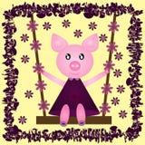 Cerdo alegre divertido en un vestido en un oscilación Flor Marco abstracto Imagen de archivo libre de regalías