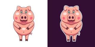 Cerdo alegre y sonriente en estilo plano Vector imagenes de archivo